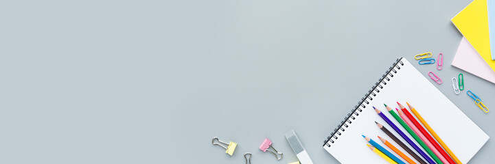 Back to School background with place for text. Horizontal banner for web design. Collection of...
