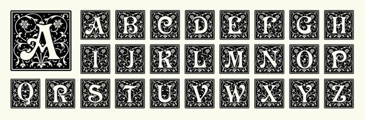 Vintage set capital letters, floral Monograms and beautiful filigree font. Art Deco, Nouveau, Modern style. Fototapete