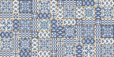 Mediterranean seamless patchwork pattern from dark blue and white Moroccan tiles, Azulejos ornaments. Can be used for wallpaper, pattern fills, web page background,surface textures. Vector