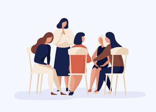 Cartoon female sitting together in circle talking about problem vector flat illustration. Woman discussion at psychological therapy in group isolated on white. People at psychotherapeutic meeting