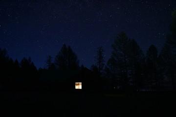 몽골 밤 하늘과 게르 Fotobehang