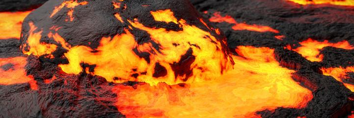 lava stream, fiery magma flow, molten rock landscape background banner  Wall mural