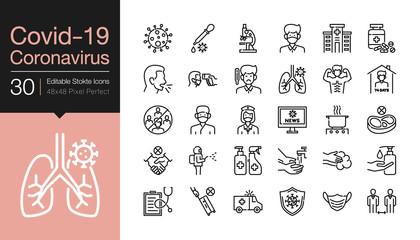 Covid-19 / Corona virus icons. Modern line design. World Health organization WHO introduced new official name for Coronavirus disease named COVID-19, dangerous virus. Editable Stroke.