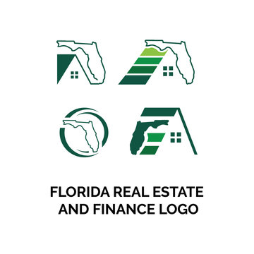 logo florida map with real estate and finance vector icon illustration