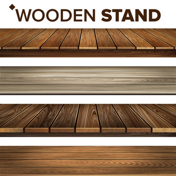 Wooden Stand And Platform Collection Set Vector. House Veranda, Wood Material Platform And Dark Color Desk Paneled Floor. Plank And Parquet Interior Details Layout Realistic 3d Illustrations