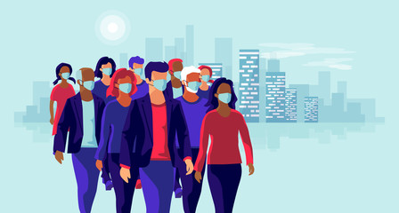 Group of people wearing protection medical face mask to protect and prevent virus, disease, flu, air pollution, contamination. Old man woman child walking. Vector illustration with city skyline.