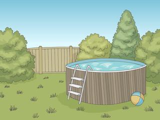 Backyard swimming pool graphic color landscape sketch illustration vector