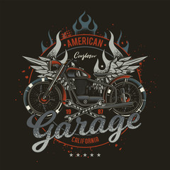 Original vector emblem in vintage style. American custom motorcycle, with wings and fire on the background.