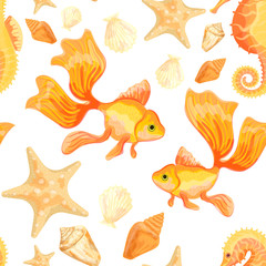 Goldfish, starfish, shells and Sea Horse. Seamless pattern with the image of fish. Imitation of watercolor. Isolated illustration.