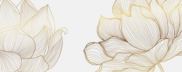 Luxury wallpaper design with Golden lotus and natural background. Lotus line arts design for fabric, prints and background texture, Vector illustration. Fotomurales