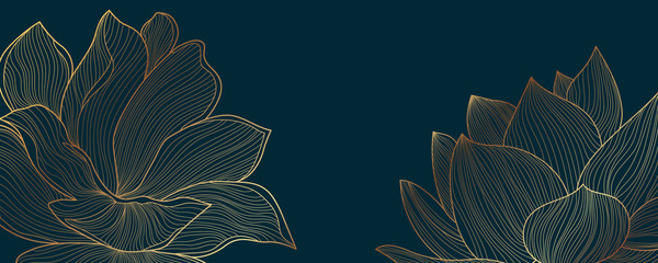 Luxury wallpaper design with Golden lotus and natural background. Lotus line arts design for fabric, prints and background texture, Vector illustration. Fototapete