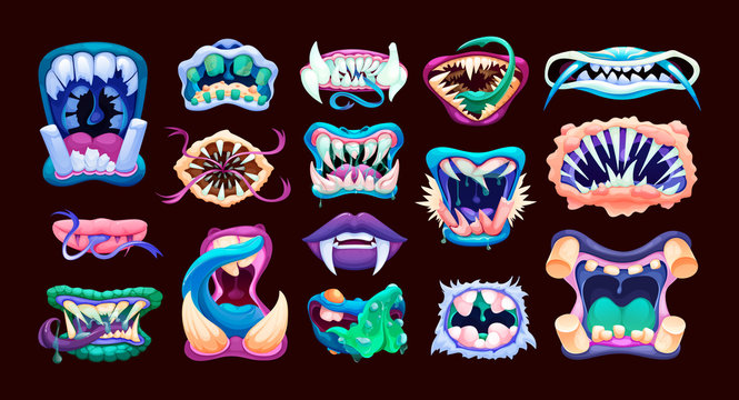 Terrible monster mouths. Scary lips teeth and tongue monsters.