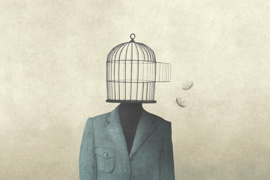 illustration of man with open birdcage over his head, surreal freedom concept