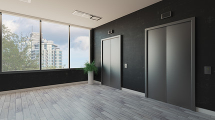 lobby with a large window. Reception in the business center. elevator doors. decorative dark walls.. 3D rendering
