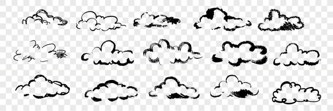 Hand drawn clouds set collection