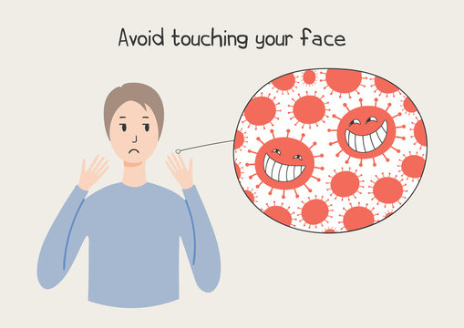 Coronavirus epidemic concept. Woman looking at her hands and cartoon virus, text Avoid touching face, isolated. Vector illustration. Poster, flyer. Flat style design. Covid-19 protection, prevention.