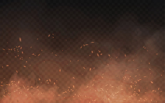 Abstract brown background of clouds of smoke and sparks or embers from a burning fire with copy space, vector illustration