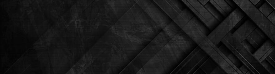 Fotobehang - Black geometric stripes abstract tech grunge banner design. Vector background