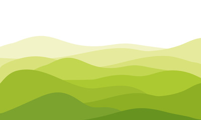 abstract fields, green waves hills on white background, vector illustration