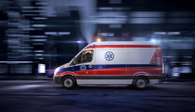 Ambulance car, 911 emergency medical service in the night city street, blurred motion shot. Coronavirus worldwide outbrake crisis, chinese covid-19 ncov corona virus pandemic 3D illustration design