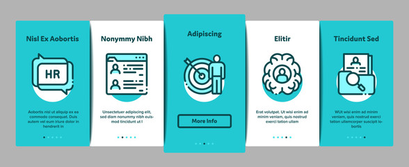 Hr Human Resources Onboarding Mobile App Page Screen Vector. Hr Management And Research, Strategy And Interview, Brainstorm And Disscusion Color Contour Illustrations