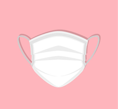 Vector illustration of breathing medical respiratory mask. Hospital or pollution protect face masking.