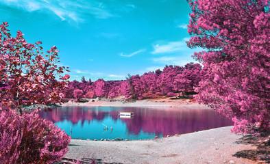 Foto auf Leinwand Hochrote infrared landscape of Beletsi Lake near to Parnes mountain Greece