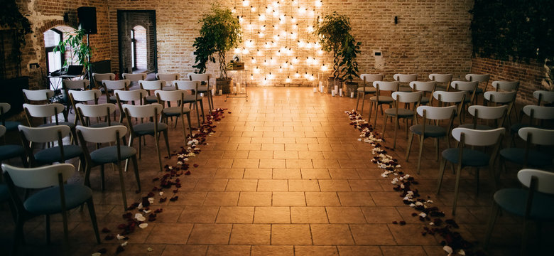 Wedding ceremony arch decoration with lights