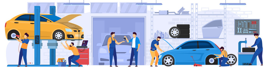 Poster de jardin Cartoon voitures Car service, professional maintenance and diagnostic, vector illustration. Mechanic in work uniform, men cartoon characters repairing cars in garage workshop. Automobile service center, people at job