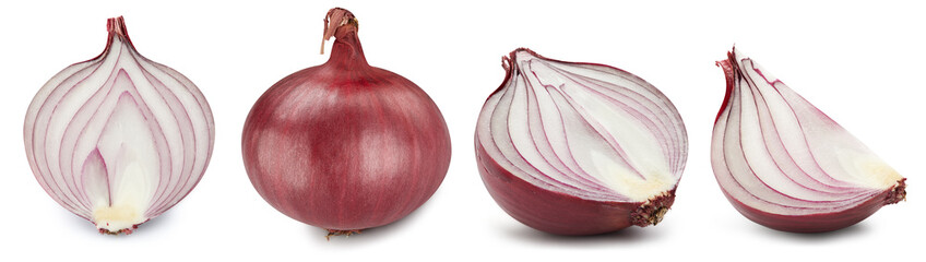 Collection onion. Red onion isolated on white background. Green natural onion clipping path. Fresh organic fruit.