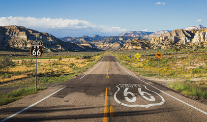 Scenic view of famous Route 66 in classic american mountain scenery at sunset