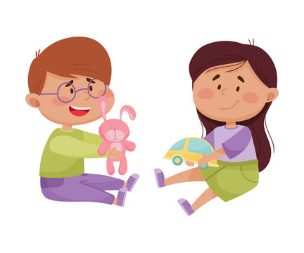 Friendly Little Kids Playing and Sharing Toys with Each Other Vector Illustration