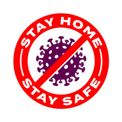 Stay home, stay safe coronavirus vector icons. Coronavirus 2019 nCov, Covid 19 NCP virus stop signs, health protection, hand sanitizer labels