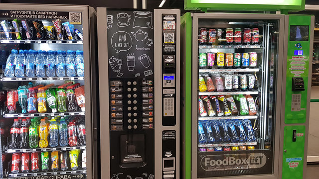 Automatic machines with drinks in a supermarket