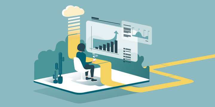 Isometric drawing explaining how cloud computing enhances our ability to learn and work anywhere. Accountants or economists work from home through the cloud. Technical vector illustration.