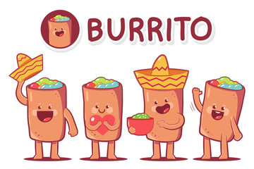 Cute burrito vector cartoon characters set isolated on a white background.