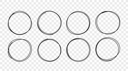 Vector hand drawn circle line sketch frames set