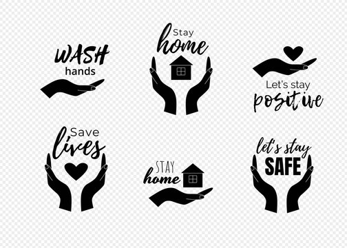 Stay home quotes. Wash hands text with symbols of human hands, heart and house. Vector