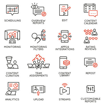 Vector set of linear icons related to influence marketing and social media promotion services. Mono line pictograms and infographics design elements - part 6