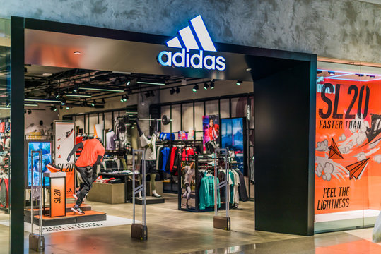 Front entrance to Adidas store in Singapore shopping mall