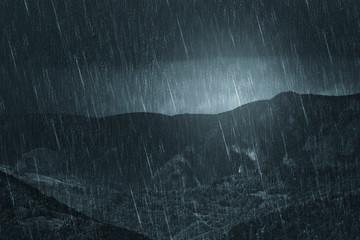rainy weather dark landscape, mountain view during heavy rain Fotobehang