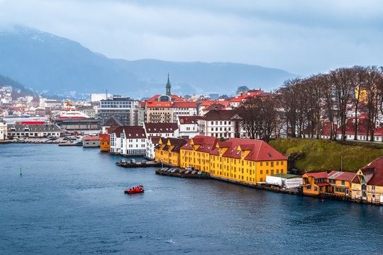Panoramic view of Bergen, Norway.  Harbor and cityscape.
