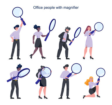 Business people in formal suit holding a magnifying glass. Recruiting,
