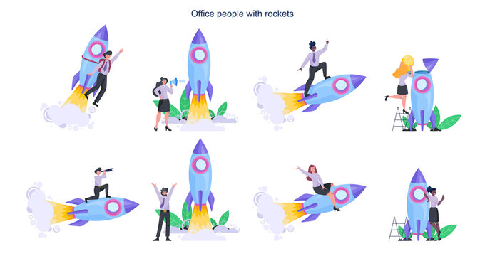 Business people with a rocket set. Rocket launch as a metaphor