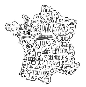 Hand drawn doodle France map. city names lettering and cartoon