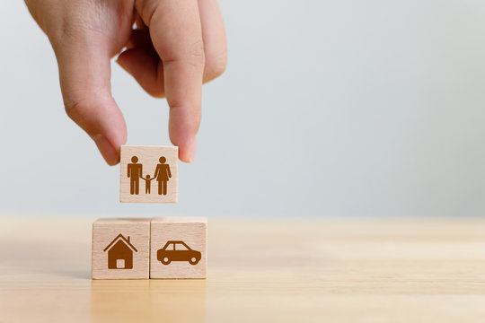 Concept of health, life, accident and travel insurance with icon healthcare, house, family, car and investment