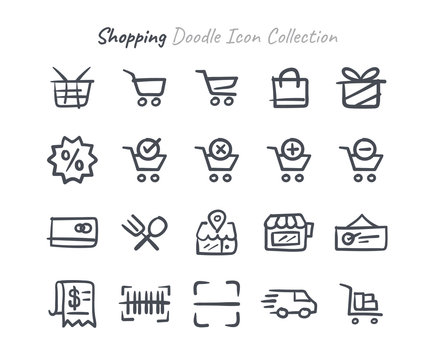 Shopping doodle icon collection