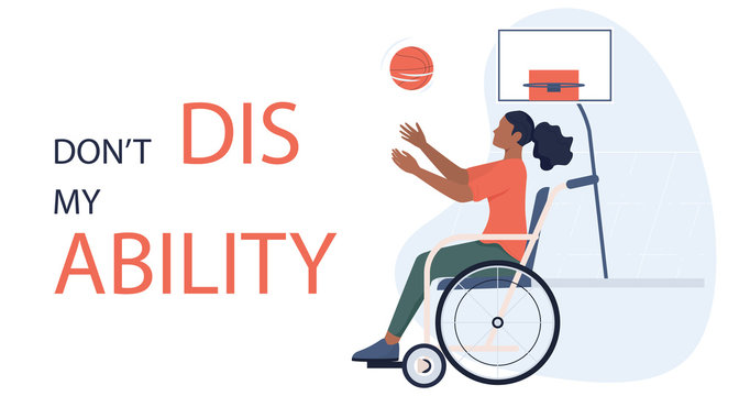 Joyful disabled woman in wheelchair playing basketball.