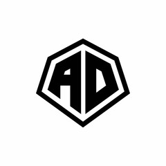 AD monogram logo with hexagon shape and line rounded style design template