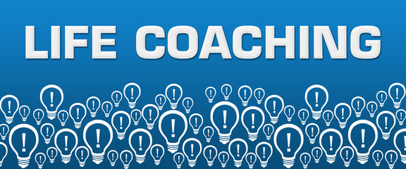 Life Coaching Blue Background Bulbs Bottom Text